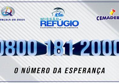 Missão Refúgio-ligue 0800 181 2000 Atendimento 24 horas.
